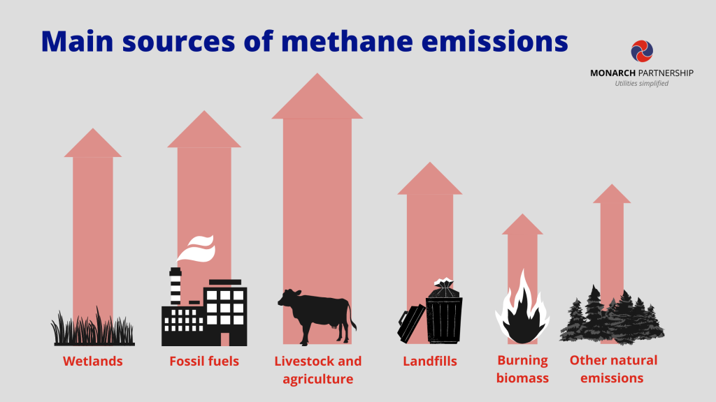 methane emissions sources infographic